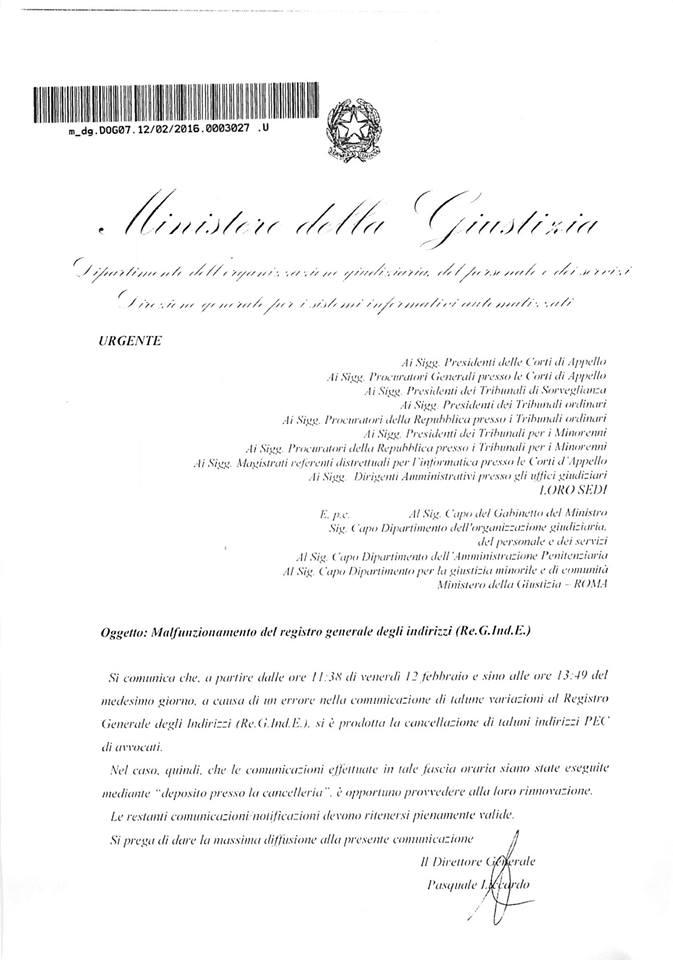 comunicazione ministero della Giustizia 15022016